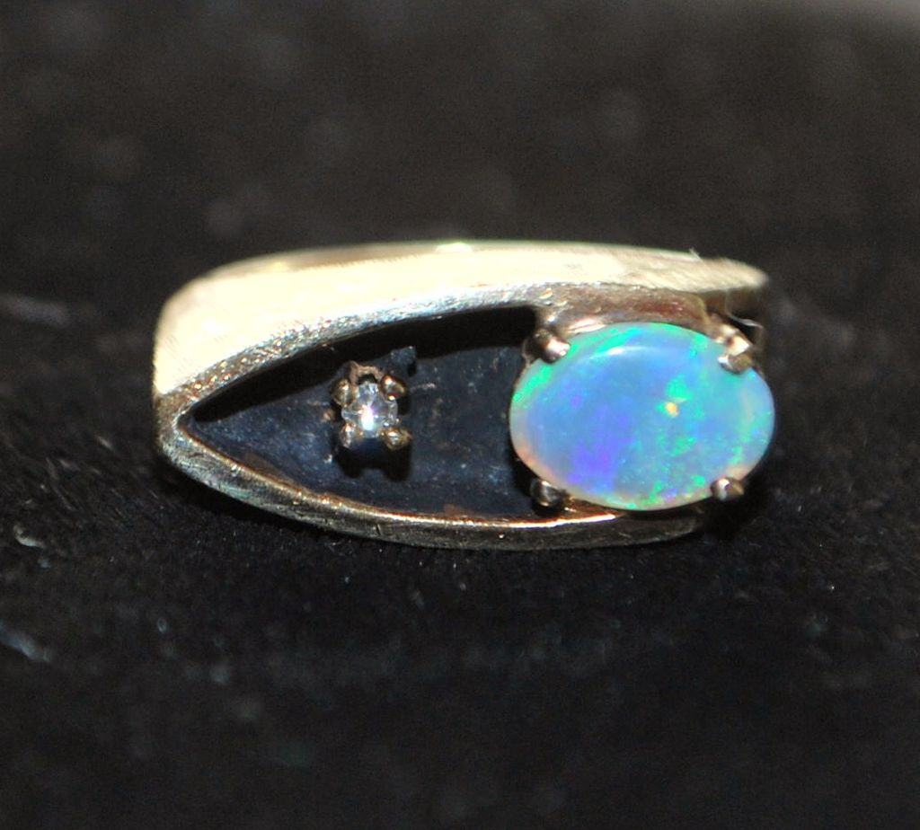 14K Modernist Opal and Diamond Ring - 1960's