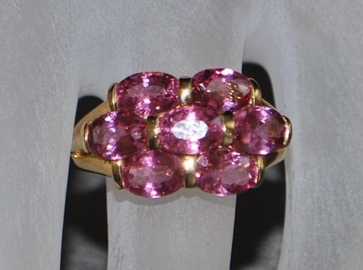 14K Pink Tourmaline Cluster Ring - 1980's