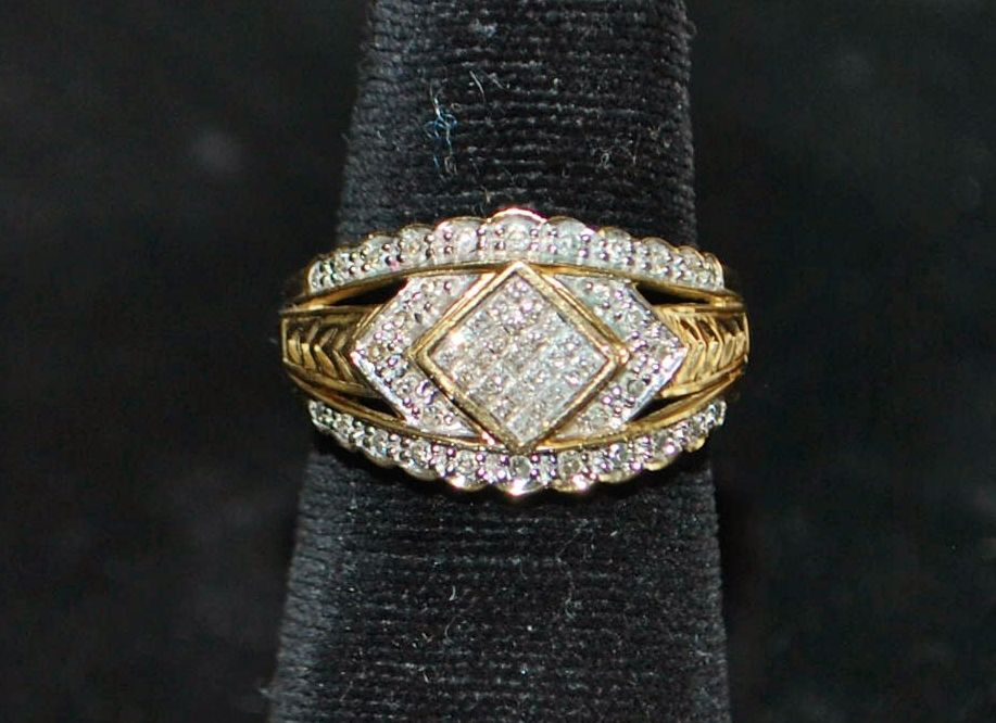 14K Pave  Diamond  Dinner Ring - 1980's