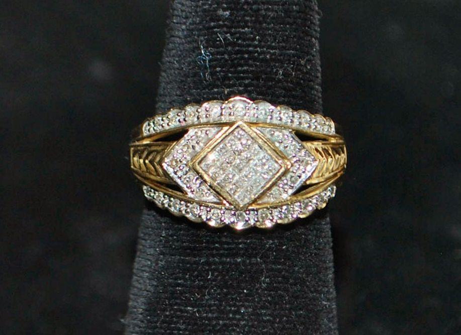 14K Pave  Diamond  Dinner Ring - 1980's