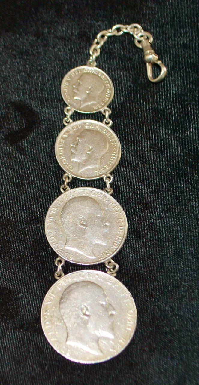English World War I Era Sterling Coin Watch Chain
