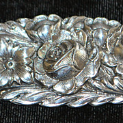 S. Kirk & Son Sterling  Repousse Floral  Brooch -  1950's
