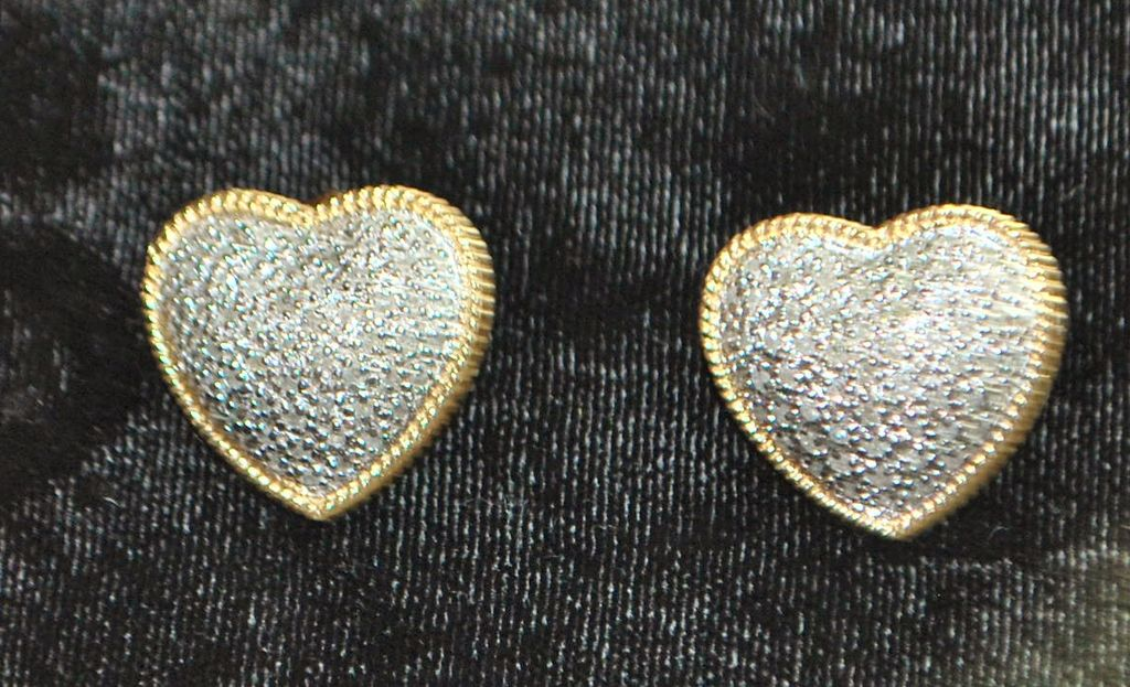 Pair of 14K Diamond Micro Pave Heart Earrings - 1980's