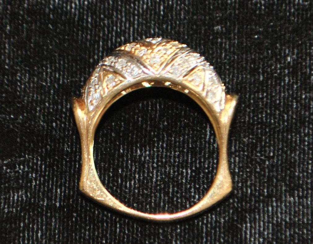 14K Two Tone Diamond  Pave Dome Ring - 1980's