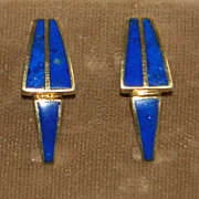 Pair of Modernist 18K Gold and Lapis Earrings - 1970's