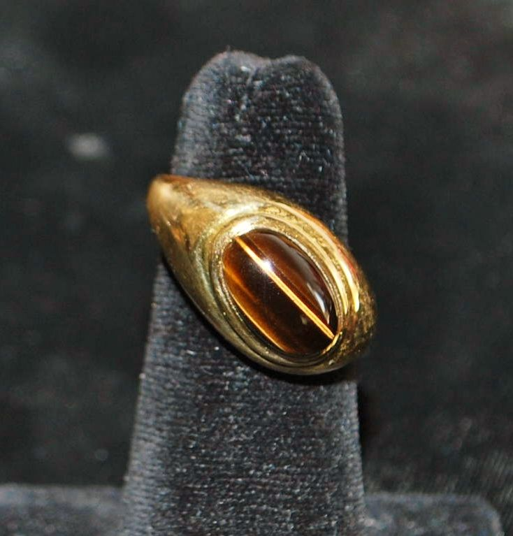 18K Custom Tiger Eye Ring - 1980's