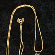 14K Retro Gold Pendant on Chain, 1960's