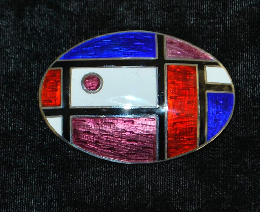 Modernist  Sterling Silver and Enamel Brooch - 1950's