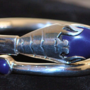 Lapis and Sterling Silver Snake Bangle. 1980's