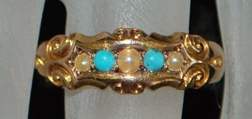 15K English Edwardian Turquoise and Seed Pearl Ring, 1903
