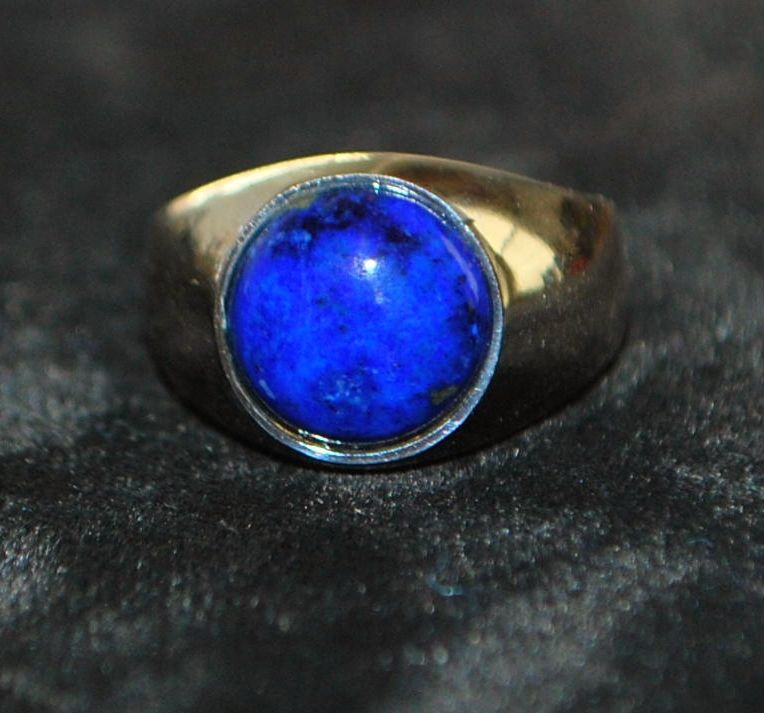 14K w/g Imperial Lapis Gold Ring, 1970's