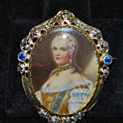 Italian Portrait Brooch, 800 Silver Filigree Frame, c. 1900