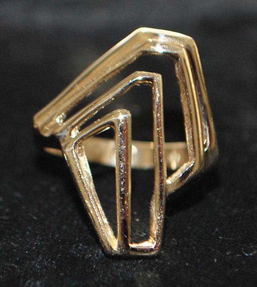 14K  Modernist  Gold Sculptural Ring - 1960's