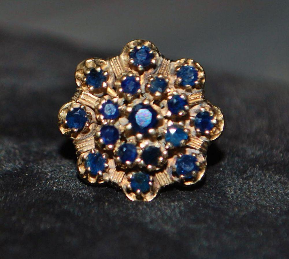 14K Blue Montana Sapphire Retro Cluster Ring, 1960's