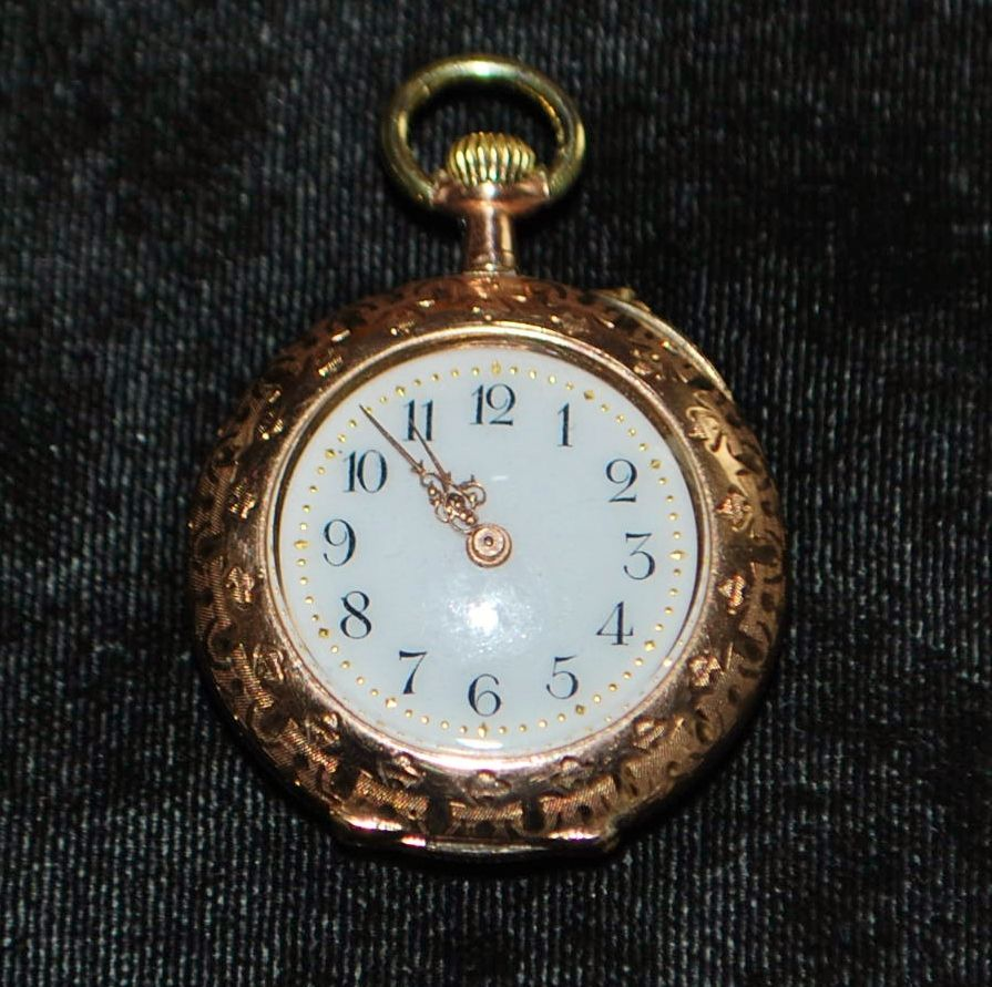 !4K Gold Fancy  Swiss Pendant Watch - 1890's