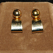 Pair of 14K Gold Ball and Curl Earrings - 1960's