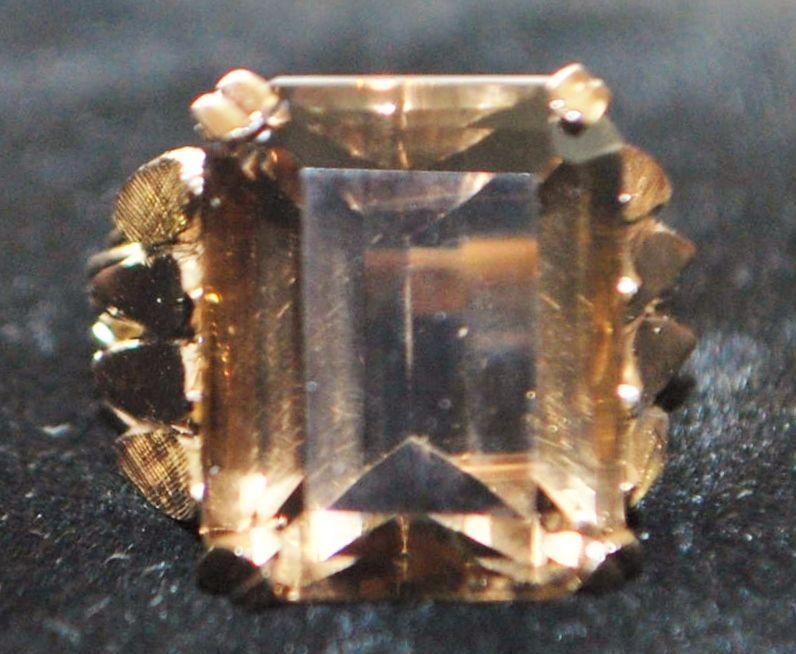 14K Retro Light Madera 15ct Citrine Ring, 1960's