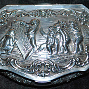 German Large Hanau 800  Silver Table Snuff - 1890's