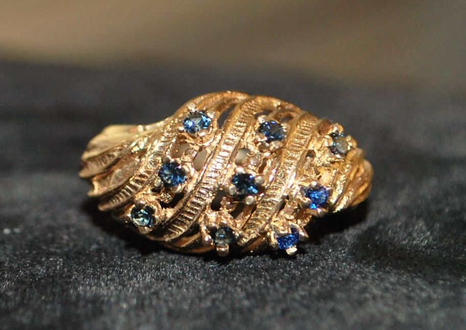 14K Retro Sapphire and Gold Waterfall Ring, 1960's