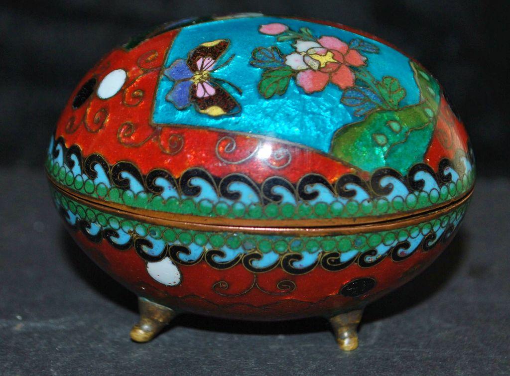 Japanese Meiji Cloisonne Egg Box, 1890