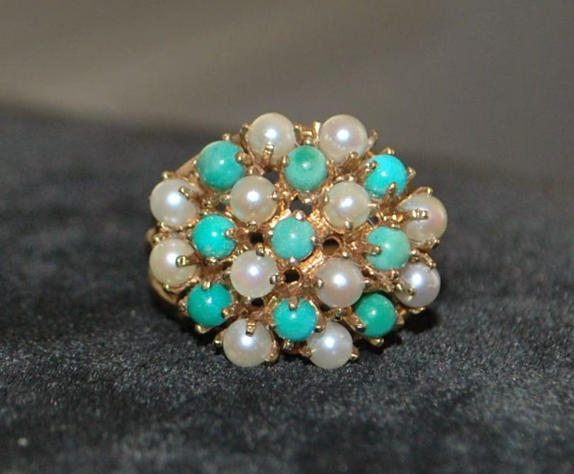 14k  Persian Turquoise and Cultured Pearl Ring, 1940's