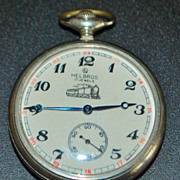 "Helbros OF Nickel ""Train"" Pocket Watch"