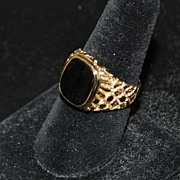 14K Man's Black Onyx Nugget Style  Signet Ring, 1970's