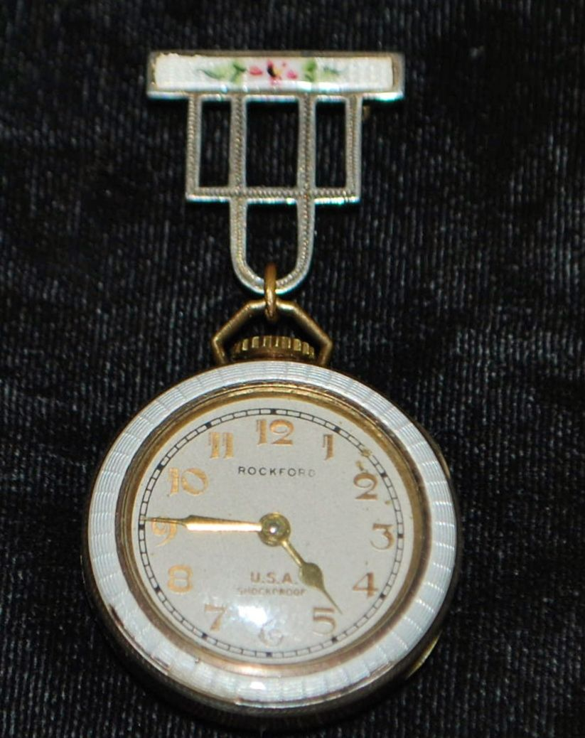 Art Deco Lady's White Enamel Lapel Watch, 1920's