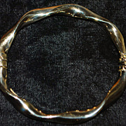 14K Italian Gold Twist Bangle Bracelet - 1970's