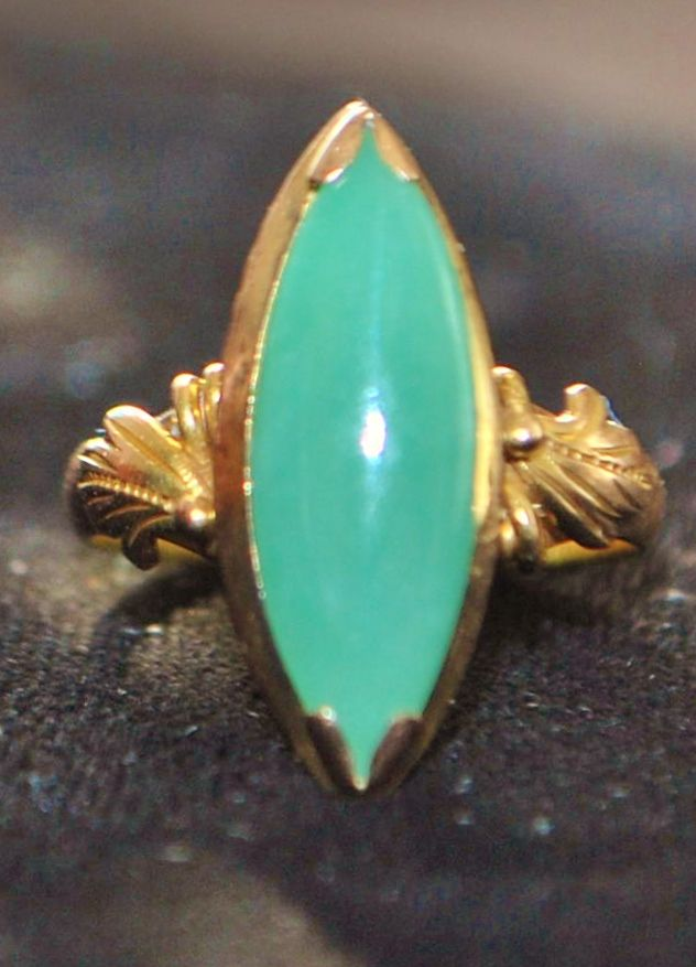 18K Apple Green Jade Ring, 1960's