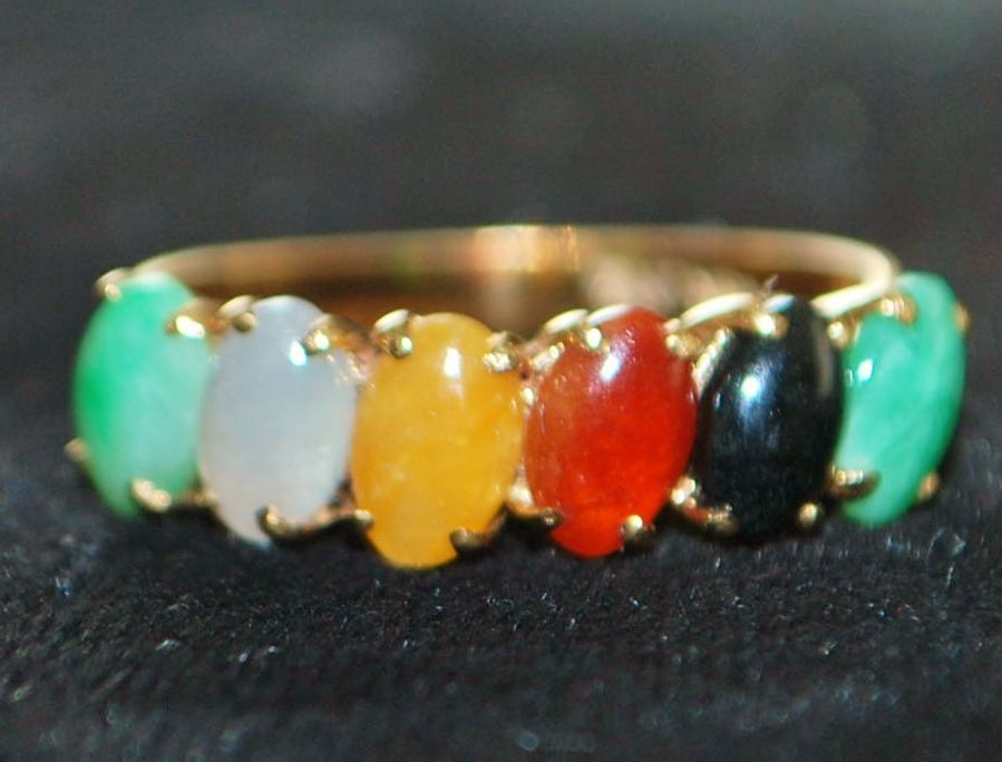 18K Multi-stone, Multi-colored Jade Ring Band, 1970's