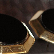 Pair of  14K Gold and Black Onyx Earrings,1960's