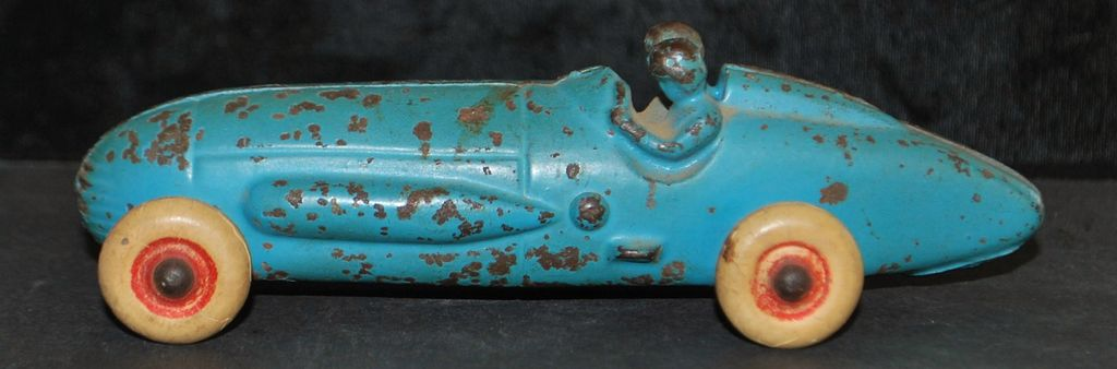 Toy Cast Iron Boat Tail Racing Car, 1930's