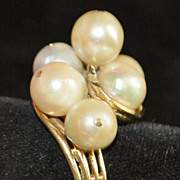 14K Retro Large Cultured Pearl Cocktail Ring, 1940's