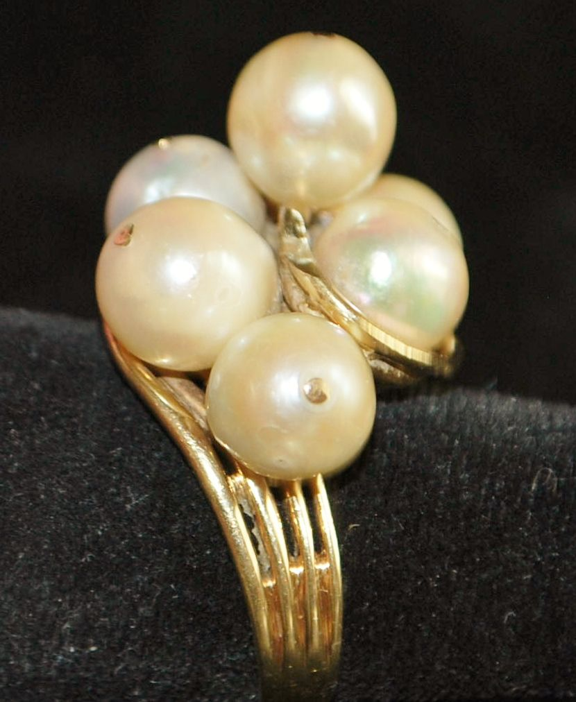 14K Large Cultured Pearl Cocktail Ring, 1940's