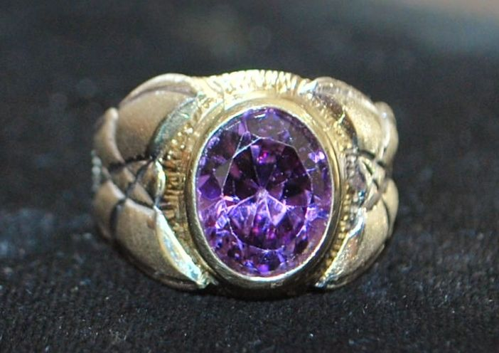 14K Two Tone Amethyst  Dress Ring