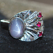 14K w/g Retro Star Sapphire and Ruby Ring, 1950's