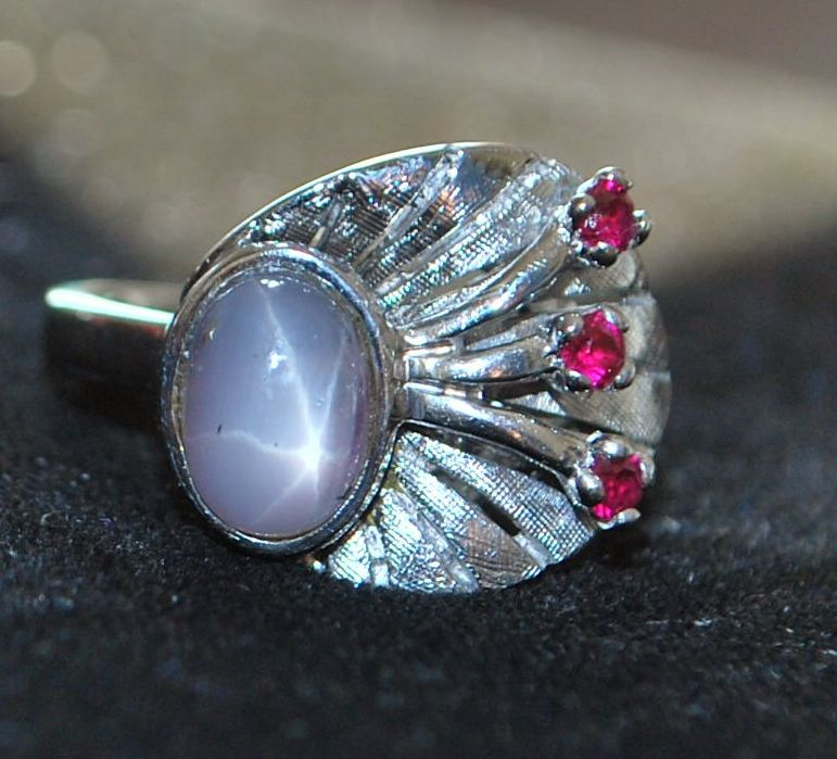 14K w/g Blue Star Sapphire and Ruby Ring, 1950's