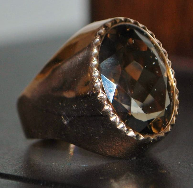 14k Large Man's Retro Cognac Topaz Signet Ring,1940's