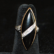 14K Art Deco Onyx and Diamond Navette Ring, 1930's