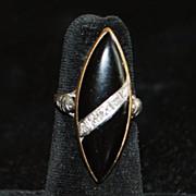 14K Art Deco Onyx and Diamond Navette Ring, 1930's
