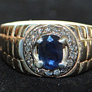 14K Man's Sapphire and Diamond Ring, 1980's