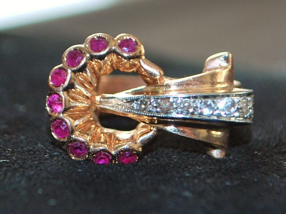 14K Retro Ruby and Diamond Buckle Ring, 1940's