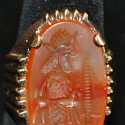 14K Large Man's Art Deco Agate Signet Ring, 1920's