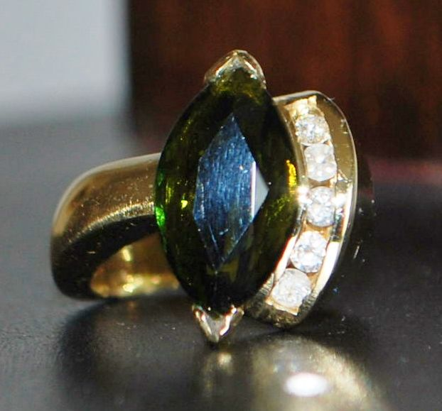 14K 5ct Green Tourmaline and Diamond Ring, 1980's