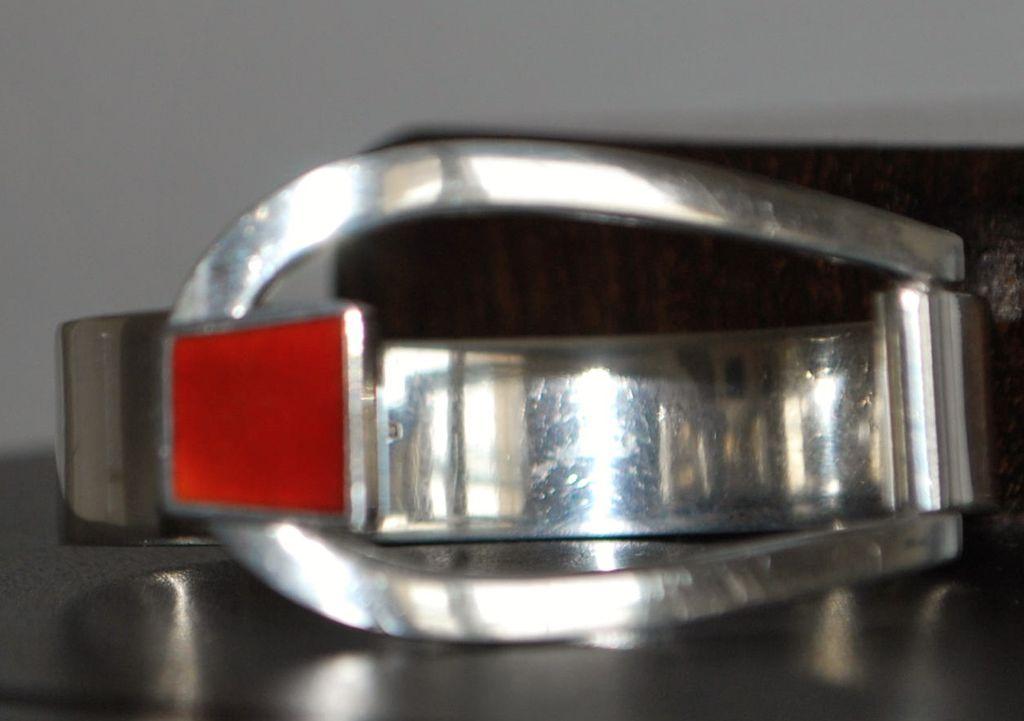 Italian Modernist 800 Silver and Enamel Bracelet, 1960's