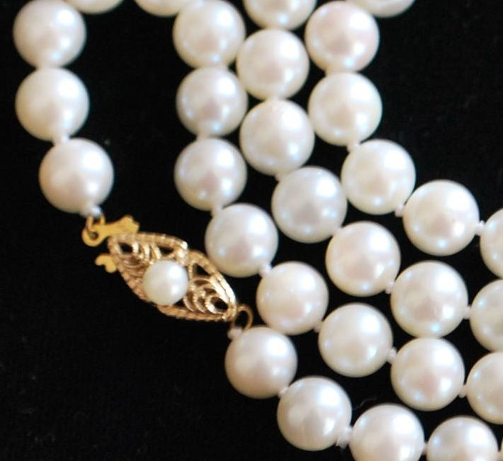 """14K 22"""" Matinee 7mm Cultured Pearl Necklace"""