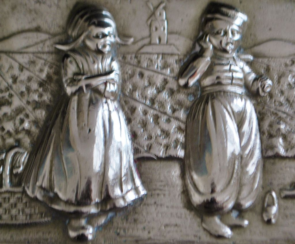 Charming Dutch Little Boy and Girl Silver Box, c. 1900