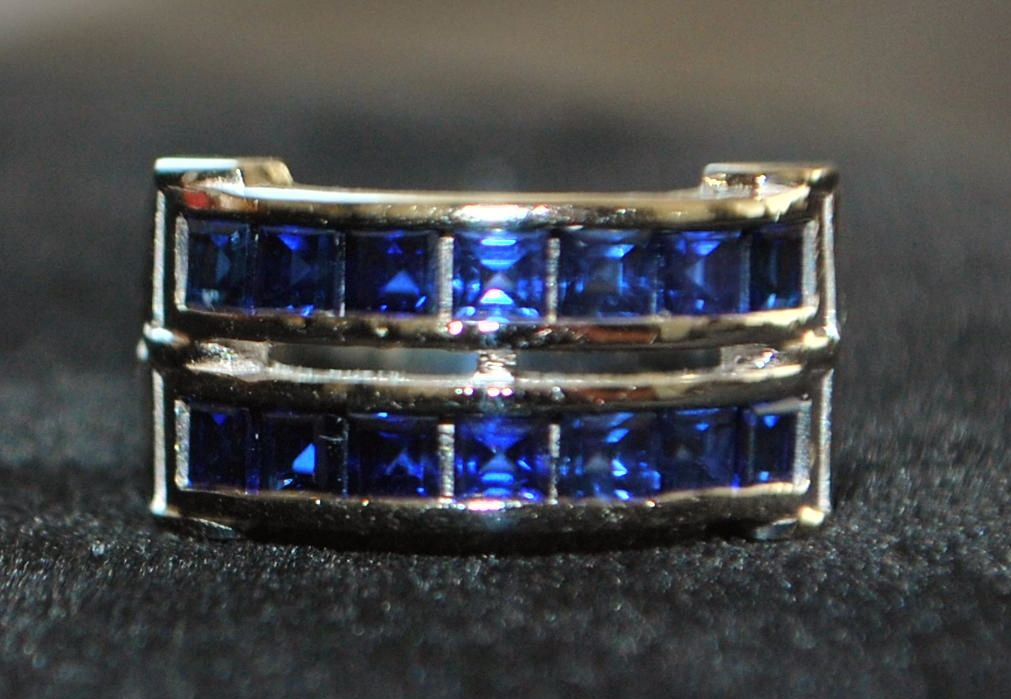 14K w/g Retro Double Row Sapphire Band Ring,1950's