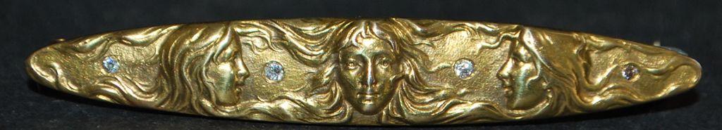 14K Art Nouveau Figural Brooch, c. 1900
